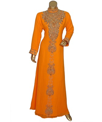 Orange Embroidered Crystal Embellished Traditional Chiffon Kaftan / Gown