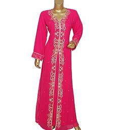 Fuchsia Pink Embroidered Crystal Embellished Traditional Chiffon Kaftan / Gown