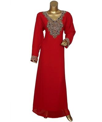 Maroon Crystal Beads Embellished Chiffon Arabian Kaftan Gown Caftan