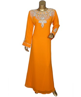 Orange Crystal Embellished Islamic Arabian Chiffon Kaftan Gown Caftan