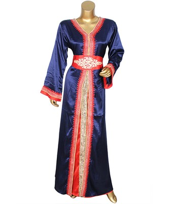 Navy Blue Embroidered Islamic Arabian Satin Silk Kaftan Gown Caftan