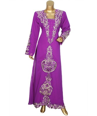 Purple Embroidered Traditional Islamic Arabian Chiffon Kaftan Gown Caftan
