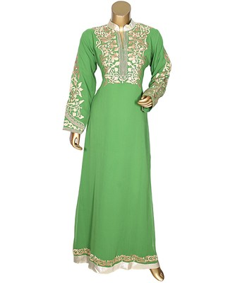 Green Embroidered Traditional Islamic Arabian Chiffon Kaftan Gown Caftan