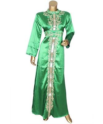 Green Embroidered Traditional Islamic Arabian Satin Silk Kaftan Gown Caftan