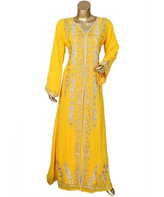 Yellow Embroidered Crystal Embellished Traditional Chiffon Kaftan Gown Abaya