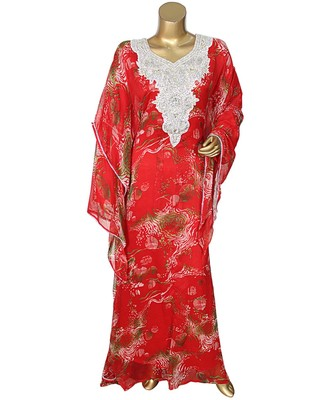 Red Embroidered Crystal Embellished Traditional Chiffon Kaftan Gown Abaya