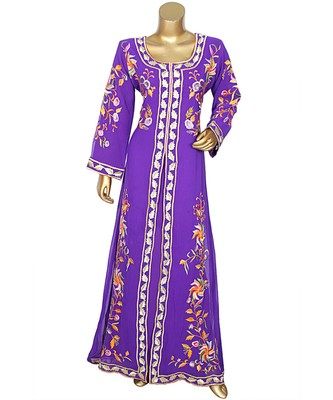 Purple Embroidered Traditional Islamic Arabian Chiffon Kaftan Gown Caftan