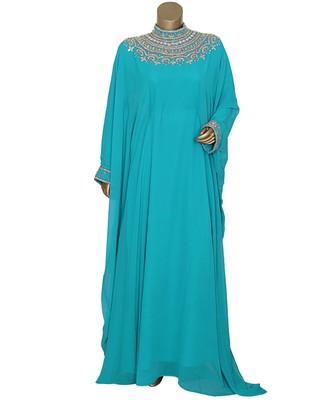 Aqua Green Crystal Embellished Traditional Islamic Chiffon Kaftan Gown Farasha