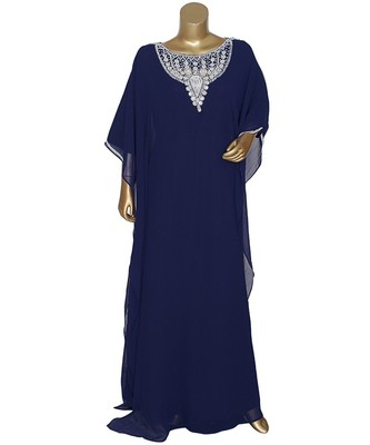 Navy Blue Crystal Embellished Traditional Islamic Chiffon Kaftan Gown Farasha