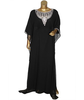 Black Crystal Embellished Traditional Islamic Chiffon Kaftan Gown Farasha