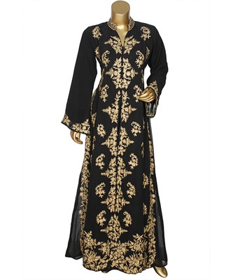 Black Crystal Embellished Traditional Islamic Chiffon Kaftan Gown Abaya