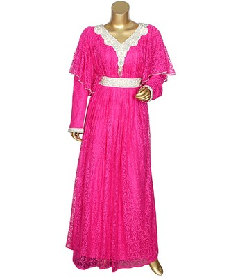 Fuchsia Pink Embroidered Crystal Embellished Arabian Kaftan Gown Caftan Abaya