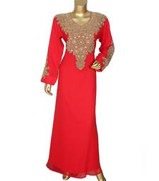 Red Traditional Beads Embellished Chiffon Kaftan Gown Caftan Abaya
