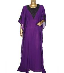 Purple Traditional Beads Embellished Chiffon Kaftan Gown Caftan Abaya