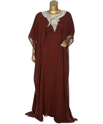 Brown Embroidered Stone work Traditional Georgette Kaftan Gown Farasha
