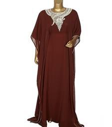 Brown Embroidered Stone work Traditional Georgette Kaftan Gown Farasha