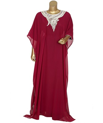Magenta Embroidered Stone work Traditional Georgette Kaftan Gown Farasha