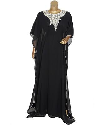 Black Embroidered Stone work Traditional Georgette Kaftan Gown Farasha