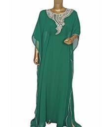 Green Embroidered Stone work Traditional Georgette Kaftan Gown Farasha