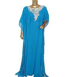 Turquoise Blue Embroidered Stone work Traditional Georgette Kaftan Gown Farasha