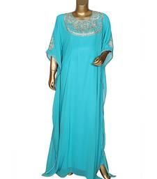 Aqua Gren Traditional Classic Stone work Islamic Chiffon Kaftan Gown Farasha