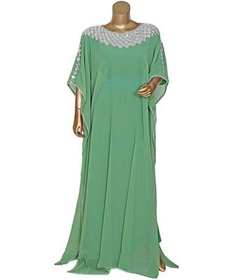 Olive Green Embroidered Crystal Embellished Chiffon Kaftan Abaya Farasha