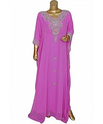 Lilac Embroidered Crystal Embellished Chiffon Kaftan Abaya Farasha