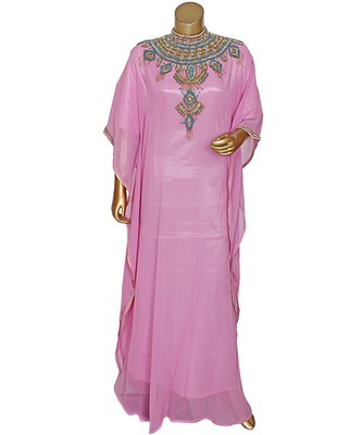 Pink Embroidered Crystal Embellished Chiffon Kaftan Abaya Farasha