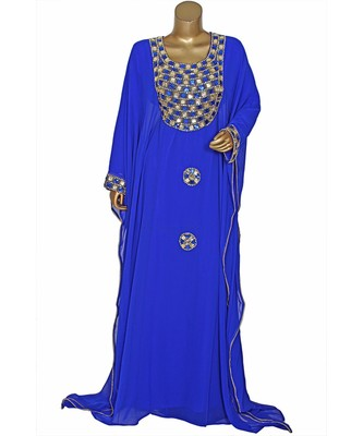 Royal Blue Embroidered Crystal Embellished Chiffon Kaftan Abaya Farasha