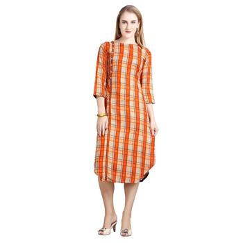 Orange printed rayon kurti