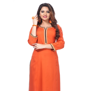 Orange plain rayon kurti