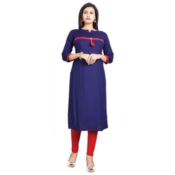 Navy-blue plain rayon kurti