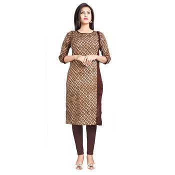 Brown printed cotton kurti
