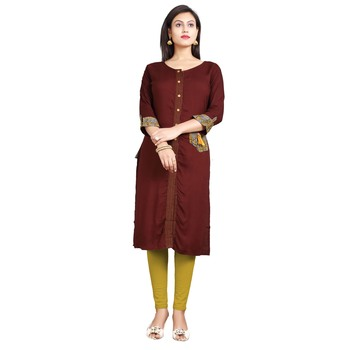 Brown plain rayon kurti