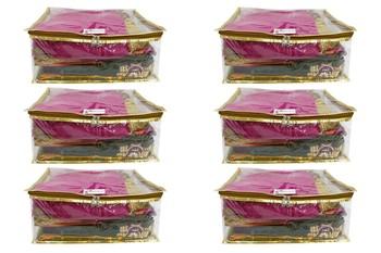 Shree Shyam Products Golden Transparent Box Saree Cover, 6 Pcs Set