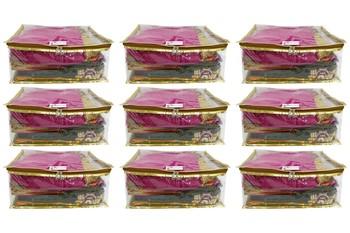 Shree Shyam Products Golden Transparent Box Saree Cover, 9 Pcs Set