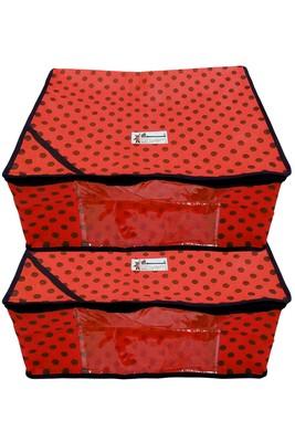 Shree Shyam Products Polka Print Non Woven Box Saree Cover, 2 Pcs Set