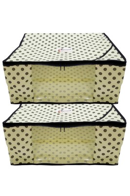 Shree Shyam Products Polka Print Non Woven Box Saree Cover, 2 Pcs Set