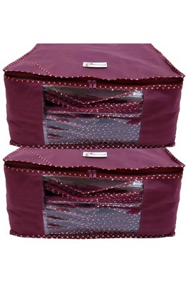 Shree Shyam Products Maroon Non Woven Box Saree Cover, 2 Pcs Set