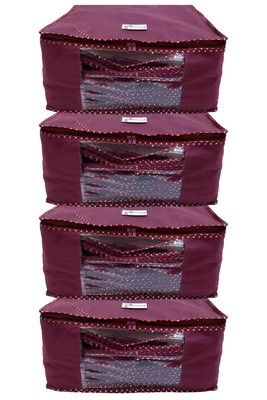 Shree Shyam Products Maroon Non Woven Box Saree Cover, 4 Pcs Set