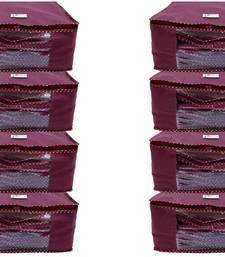 Shree Shyam Products Maroon Non Woven Box Saree Cover, 8 Pcs Set