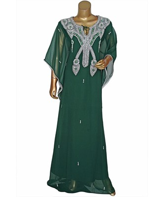 Green Embroidered Crystal Embellished Chiffon Kaftan Abaya Farasha