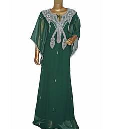 Green Embroidered Crystal Embellished Chiffon Kaftan Abaya Farasha
