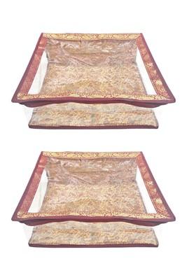 Shree Shyam Products Maroon Border Brocade Semi Transparent Box Saree Cover, 2 Pcs Set
