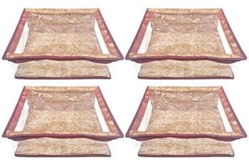 Shree Shyam Products Maroon Border Brocade Semi Transparent Box Saree Cover, 4 Pcs Set