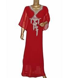 Maroon Embroidered Crystal Embellished Chiffon Kaftan Abaya Farasha