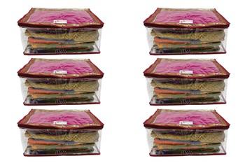Shree Shyam Products Maroon Border Transparent Box Saree Cover, 6 Pcs Set