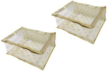 Shree Shyam Products Golden Polka Border Transparent Box Saree Cover, 2 Pcs Set