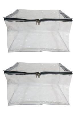 Shree Shyam Products Silver Transparent 12 Inch Box Saree Cover, 2 Pcs Set