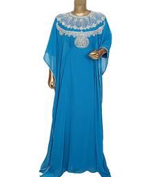 Turquoise Blue Traditional Crystal Embellished Chiffon Kaftan Abaya Farasha